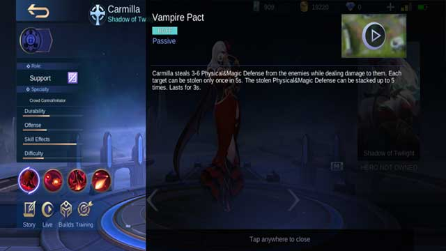 statistik hero carmilla mobile legends